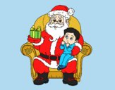 Coloring page Santa Claus and child at Christmas painted byLornaAnia