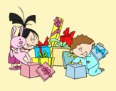 Coloring page Children and presents painted byLornaAnia