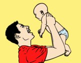 Coloring page Father and baby painted byLornaAnia