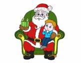 Santa Claus and child at Christmas