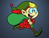 Elf running with a sack