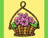 Coloring page Basket of flowers painted byLornaAnia