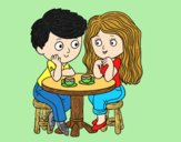 Coloring page Children drinking coffee painted byLornaAnia