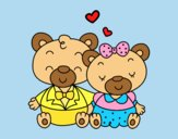 Coloring page Teddy's bears in love painted byLornaAnia