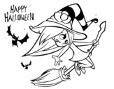 A Halloween witch coloring page