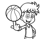 A junior basketball player coloring page