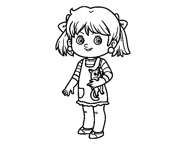 A little girl with kitten coloring page