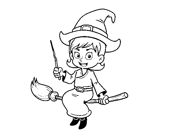 A magic witch coloring page