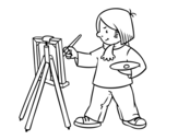 An artist coloring page