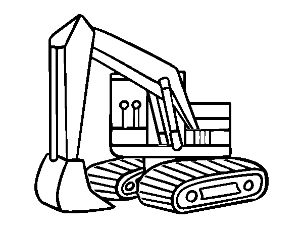 An excavator coloring page