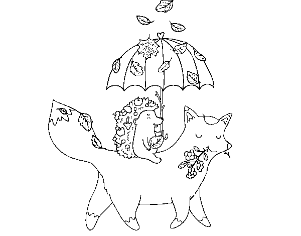 Animals and autumn coloring page
