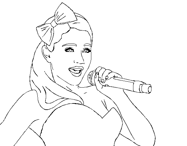 Ariana Grande singing coloring page