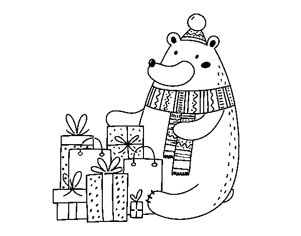 Bear with Christmas gifts coloring page
