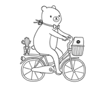 Bicycle-riding bear coloring page
