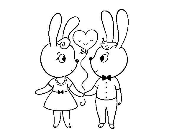 Bunnies enamored coloring page