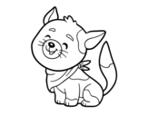 Cat with kerchief coloring page