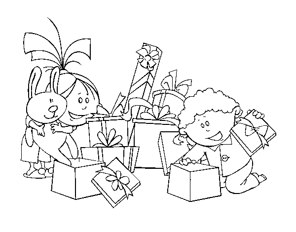 Children and presents coloring page