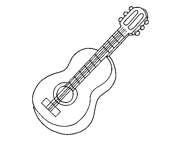 Classical guitar coloring page