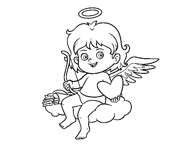 Cupido in a cloud coloring page