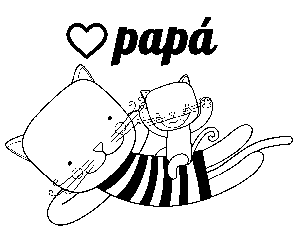 Dad cat coloring page