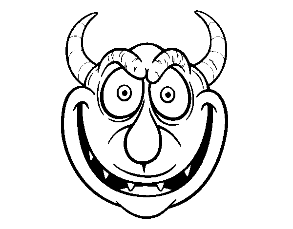 Demon mask coloring page