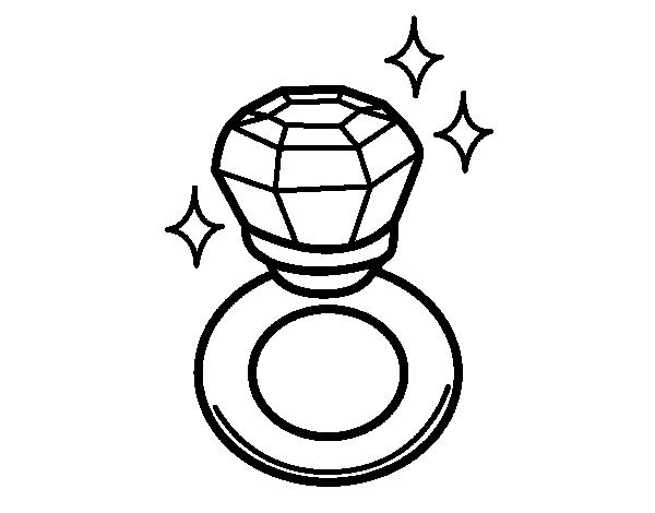 Diamond Ring Coloring Page Coloringcrew Com