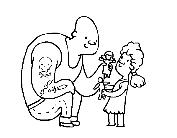 Father with tattoos coloring page