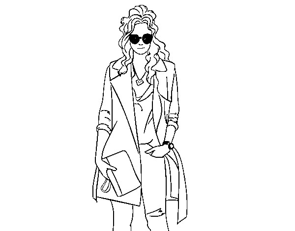 Girl with gabardine coloring page