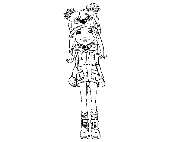 Girl with hat and coat coloring page