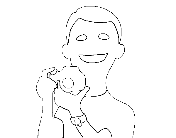 Guy with camera coloring page