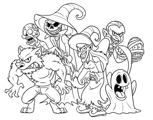 Halloween Monsters Coloring Page Coloringcrew Com