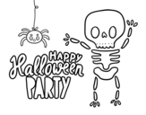 Happy Halloween party coloring page