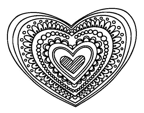 Heart Mandala Coloring Page Coloringcrew Com