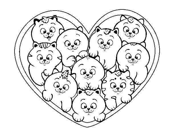 Heart of kittens coloring page