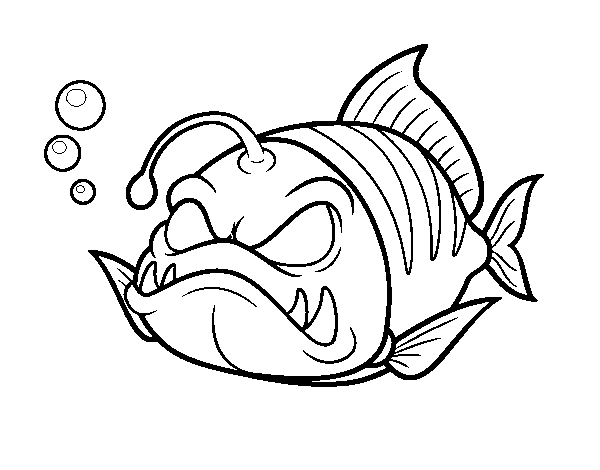 Horned lantern fish coloring page