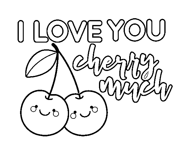 I love you cherry much coloring page