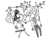 Just married on a swing coloring page