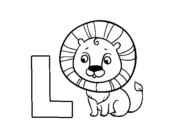 L of Lion coloring page