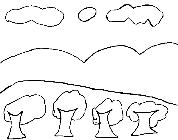 Landscape with mountain coloring page - Coloringcrew.com