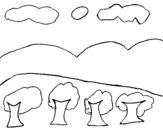 Landscape with mountain coloring page