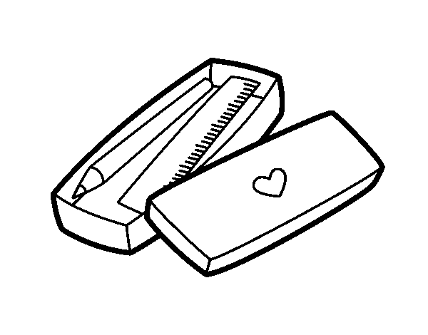 Little box with pencil and ruler coloring page - Coloringcrew.com