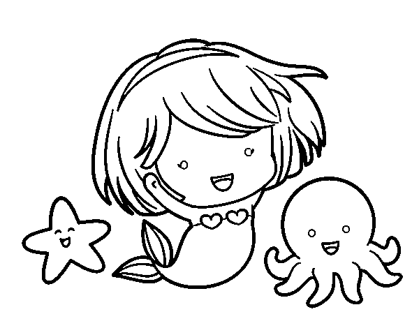 Little mermaid chibi coloring page