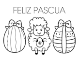 Dibujo de Little sheep with easter eggs
