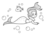 Magical mermaid coloring page