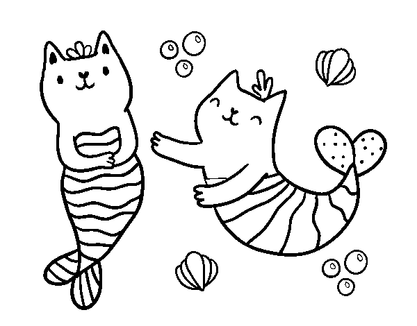 Mermaid cats coloring page