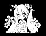 dibujo de miku tradicional dibujo de miku hatsune vocaloid rin kagamine coloring page
