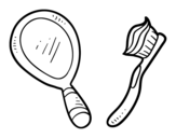 Mirror and toothbrush coloring page