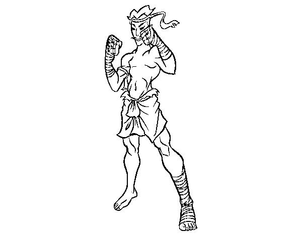 Muay Thai Fighter Coloring Page Coloringcrew Com