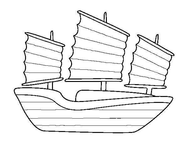 Oriental ship coloring page