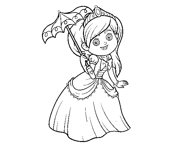 Princess with sunshade coloring page